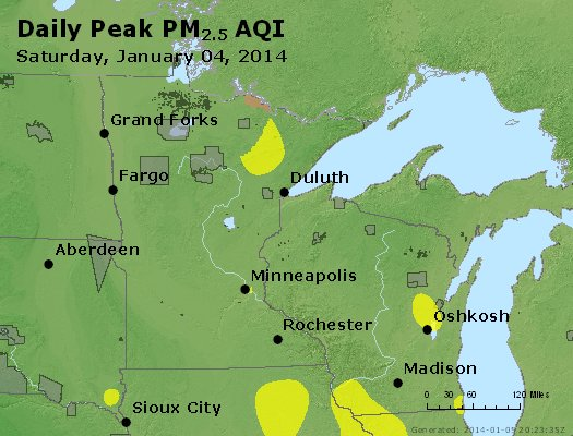 Peak Particles PM<sub>2.5</sub> (24-hour) - http://files.airnowtech.org/airnow/2014/20140104/peak_pm25_mn_wi.jpg