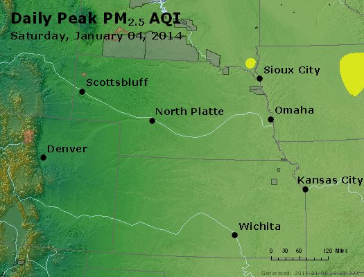 Peak Particles PM<sub>2.5</sub> (24-hour) - http://files.airnowtech.org/airnow/2014/20140104/peak_pm25_ne_ks.jpg