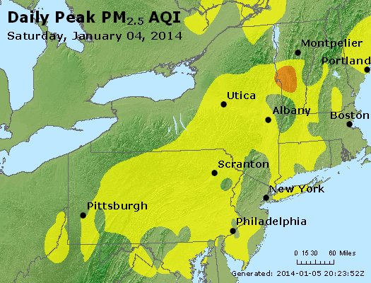 Peak Particles PM<sub>2.5</sub> (24-hour) - http://files.airnowtech.org/airnow/2014/20140104/peak_pm25_ny_pa_nj.jpg