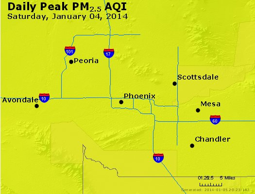 Peak Particles PM<sub>2.5</sub> (24-hour) - http://files.airnowtech.org/airnow/2014/20140104/peak_pm25_phoenix_az.jpg