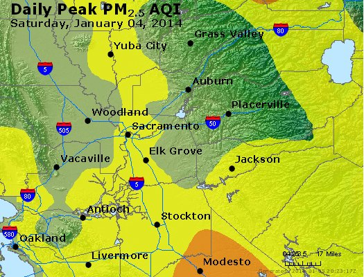 Peak Particles PM<sub>2.5</sub> (24-hour) - http://files.airnowtech.org/airnow/2014/20140104/peak_pm25_sacramento_ca.jpg