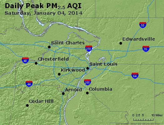 Peak Particles PM<sub>2.5</sub> (24-hour) - http://files.airnowtech.org/airnow/2014/20140104/peak_pm25_stlouis_mo.jpg