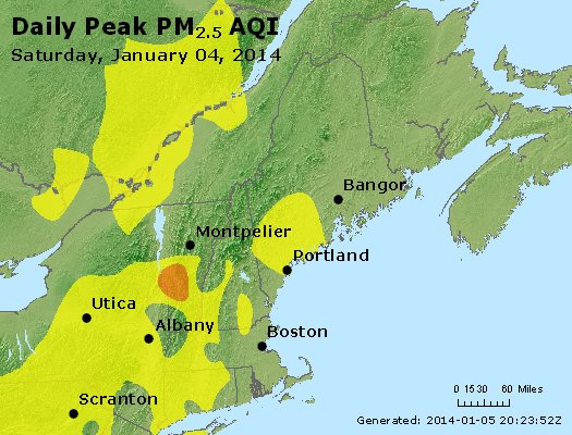 Peak Particles PM<sub>2.5</sub> (24-hour) - http://files.airnowtech.org/airnow/2014/20140104/peak_pm25_vt_nh_ma_ct_ri_me.jpg