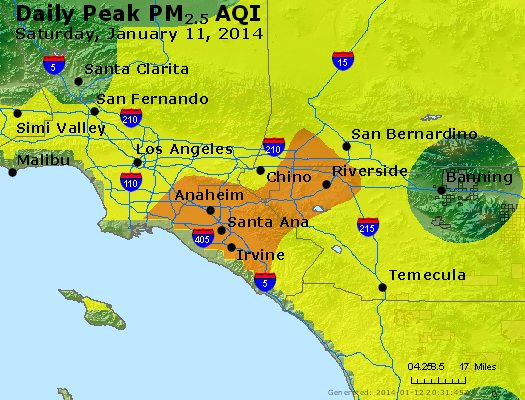 Peak Particles PM<sub>2.5</sub> (24-hour) - http://files.airnowtech.org/airnow/2014/20140111/peak_pm25_losangeles_ca.jpg