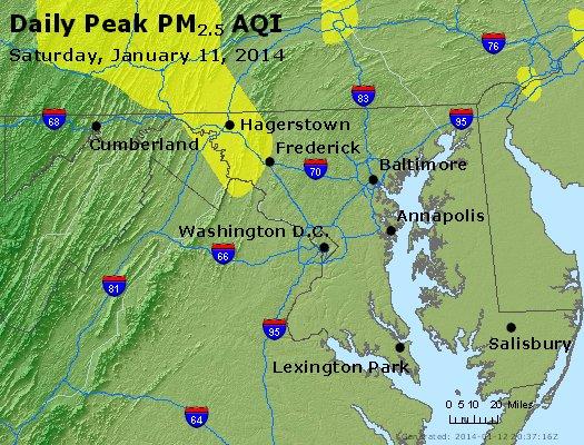 Peak Particles PM<sub>2.5</sub> (24-hour) - http://files.airnowtech.org/airnow/2014/20140111/peak_pm25_maryland.jpg