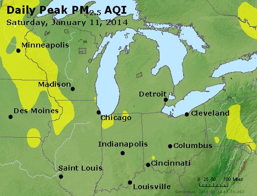 Peak Particles PM<sub>2.5</sub> (24-hour) - http://files.airnowtech.org/airnow/2014/20140111/peak_pm25_mi_in_oh.jpg