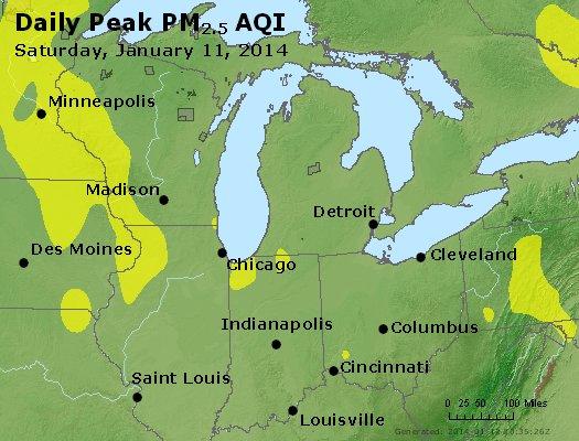 Peak Particles PM<sub>2.5</sub> (24-hour) - http://files.airnowtech.org/airnow/2014/20140111/peak_pm25_mi_in_oh.jpg