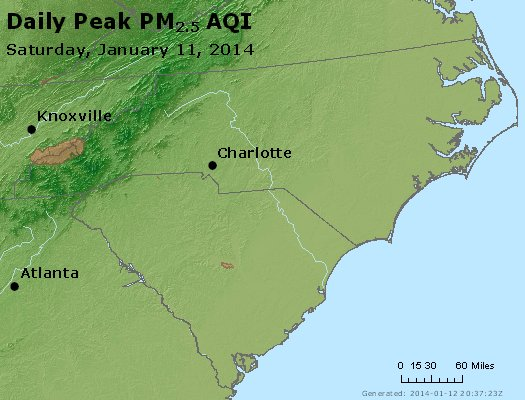 Peak Particles PM<sub>2.5</sub> (24-hour) - http://files.airnowtech.org/airnow/2014/20140111/peak_pm25_nc_sc.jpg