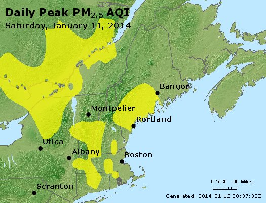 Peak Particles PM<sub>2.5</sub> (24-hour) - http://files.airnowtech.org/airnow/2014/20140111/peak_pm25_vt_nh_ma_ct_ri_me.jpg