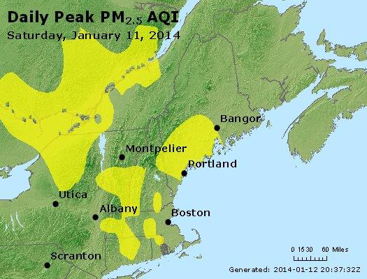 Peak Particles PM<sub>2.5</sub> (24-hour) - http://files.airnowtech.org/airnow/2014/20140111/peak_pm25_vt_nh_ma_ct_ri_me.jpg