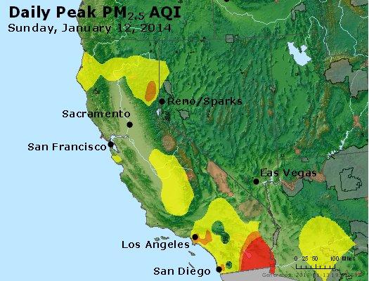 Peak Particles PM<sub>2.5</sub> (24-hour) - http://files.airnowtech.org/airnow/2014/20140112/peak_pm25_ca_nv.jpg