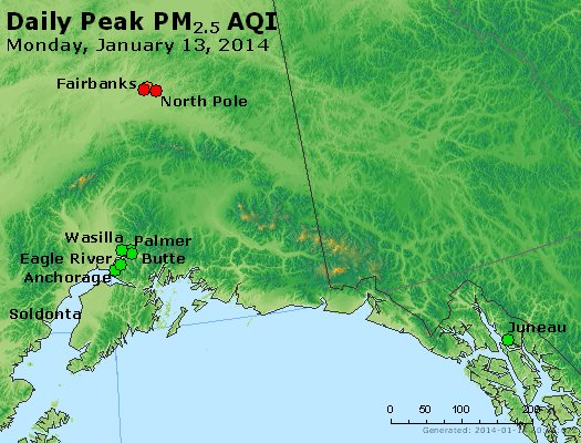 Peak Particles PM<sub>2.5</sub> (24-hour) - http://files.airnowtech.org/airnow/2014/20140113/peak_pm25_alaska.jpg