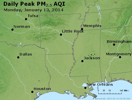 Peak Particles PM<sub>2.5</sub> (24-hour) - http://files.airnowtech.org/airnow/2014/20140113/peak_pm25_ar_la_ms.jpg
