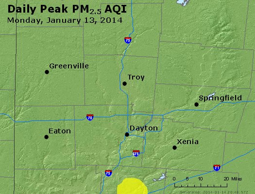 Peak Particles PM<sub>2.5</sub> (24-hour) - http://files.airnowtech.org/airnow/2014/20140113/peak_pm25_dayton_oh.jpg