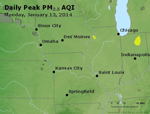 Peak Particles PM<sub>2.5</sub> (24-hour) - http://files.airnowtech.org/airnow/2014/20140113/peak_pm25_ia_il_mo.jpg