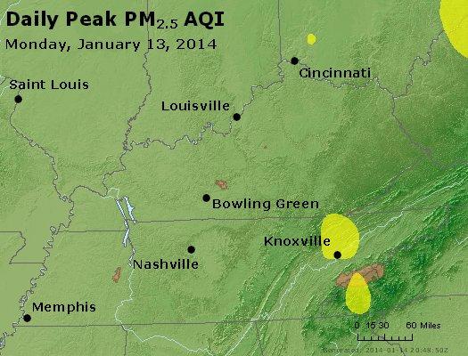 Peak Particles PM<sub>2.5</sub> (24-hour) - http://files.airnowtech.org/airnow/2014/20140113/peak_pm25_ky_tn.jpg