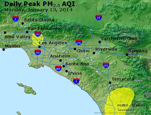 Peak Particles PM<sub>2.5</sub> (24-hour) - http://files.airnowtech.org/airnow/2014/20140113/peak_pm25_losangeles_ca.jpg