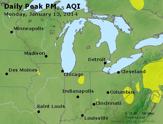 Peak Particles PM<sub>2.5</sub> (24-hour) - http://files.airnowtech.org/airnow/2014/20140113/peak_pm25_mi_in_oh.jpg