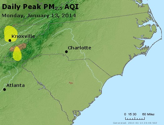 Peak Particles PM<sub>2.5</sub> (24-hour) - http://files.airnowtech.org/airnow/2014/20140113/peak_pm25_nc_sc.jpg