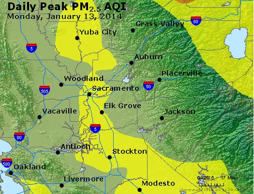 Peak Particles PM<sub>2.5</sub> (24-hour) - http://files.airnowtech.org/airnow/2014/20140113/peak_pm25_sacramento_ca.jpg