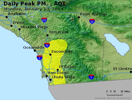 Peak Particles PM<sub>2.5</sub> (24-hour) - http://files.airnowtech.org/airnow/2014/20140113/peak_pm25_sandiego_ca.jpg