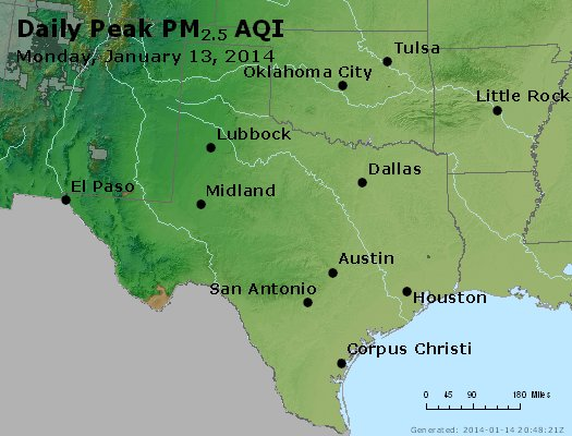 Peak Particles PM<sub>2.5</sub> (24-hour) - http://files.airnowtech.org/airnow/2014/20140113/peak_pm25_tx_ok.jpg