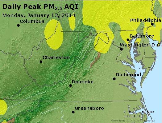Peak Particles PM<sub>2.5</sub> (24-hour) - http://files.airnowtech.org/airnow/2014/20140113/peak_pm25_va_wv_md_de_dc.jpg