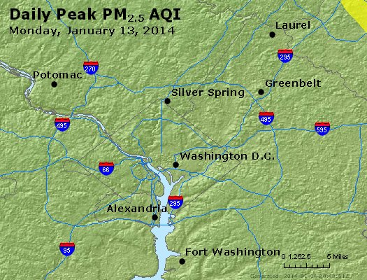 Peak Particles PM<sub>2.5</sub> (24-hour) - http://files.airnowtech.org/airnow/2014/20140113/peak_pm25_washington_dc.jpg