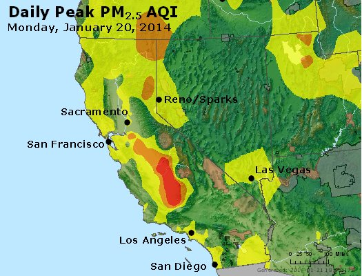 Peak Particles PM<sub>2.5</sub> (24-hour) - http://files.airnowtech.org/airnow/2014/20140120/peak_pm25_ca_nv.jpg