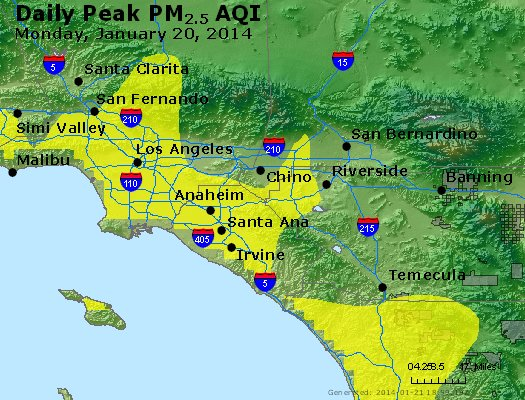 Peak Particles PM<sub>2.5</sub> (24-hour) - http://files.airnowtech.org/airnow/2014/20140120/peak_pm25_losangeles_ca.jpg