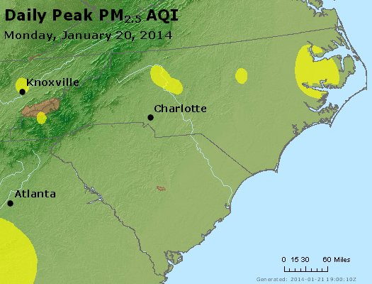 Peak Particles PM<sub>2.5</sub> (24-hour) - http://files.airnowtech.org/airnow/2014/20140120/peak_pm25_nc_sc.jpg
