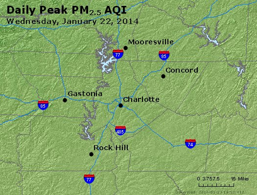 Peak Particles PM<sub>2.5</sub> (24-hour) - http://files.airnowtech.org/airnow/2014/20140122/peak_pm25_charlotte_nc.jpg