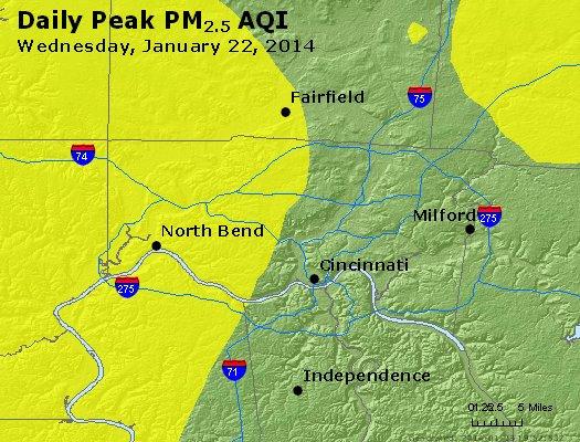 Peak Particles PM<sub>2.5</sub> (24-hour) - http://files.airnowtech.org/airnow/2014/20140122/peak_pm25_cincinnati_oh.jpg