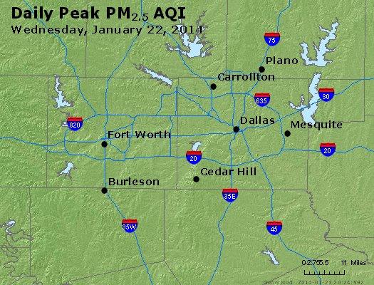 Peak Particles PM<sub>2.5</sub> (24-hour) - http://files.airnowtech.org/airnow/2014/20140122/peak_pm25_dallas_tx.jpg
