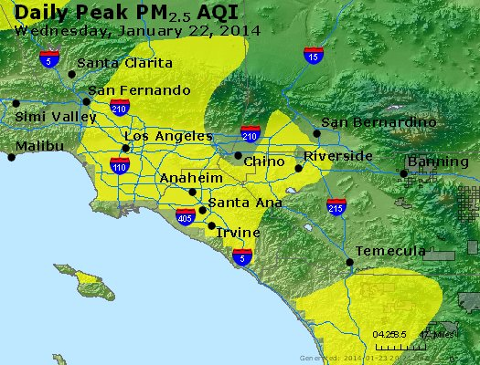Peak Particles PM<sub>2.5</sub> (24-hour) - http://files.airnowtech.org/airnow/2014/20140122/peak_pm25_losangeles_ca.jpg