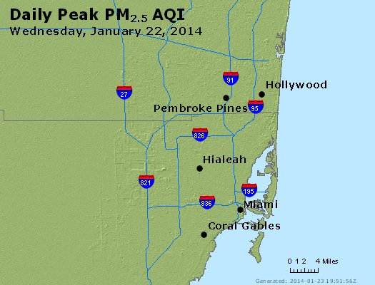 Peak Particles PM<sub>2.5</sub> (24-hour) - http://files.airnowtech.org/airnow/2014/20140122/peak_pm25_miami_fl.jpg