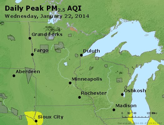 Peak Particles PM<sub>2.5</sub> (24-hour) - http://files.airnowtech.org/airnow/2014/20140122/peak_pm25_mn_wi.jpg