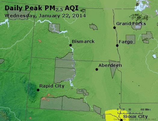 Peak Particles PM<sub>2.5</sub> (24-hour) - http://files.airnowtech.org/airnow/2014/20140122/peak_pm25_nd_sd.jpg