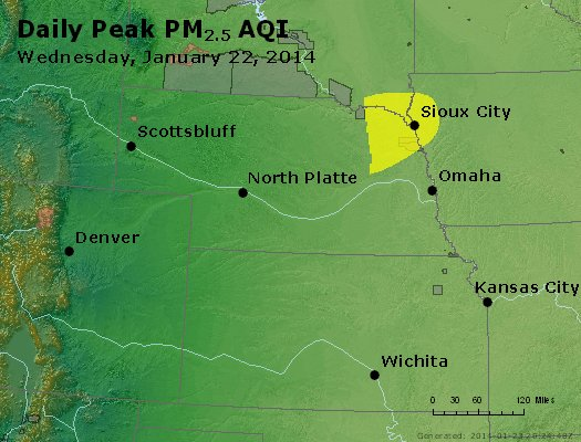 Peak Particles PM<sub>2.5</sub> (24-hour) - http://files.airnowtech.org/airnow/2014/20140122/peak_pm25_ne_ks.jpg