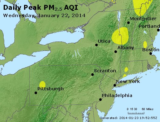 Peak Particles PM<sub>2.5</sub> (24-hour) - http://files.airnowtech.org/airnow/2014/20140122/peak_pm25_ny_pa_nj.jpg