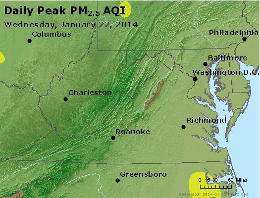 Peak Particles PM<sub>2.5</sub> (24-hour) - http://files.airnowtech.org/airnow/2014/20140122/peak_pm25_va_wv_md_de_dc.jpg