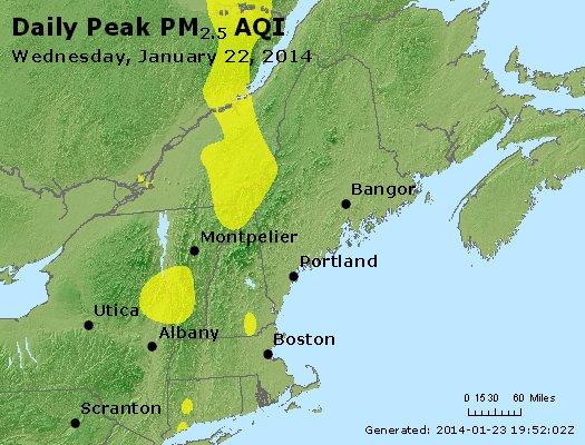 Peak Particles PM<sub>2.5</sub> (24-hour) - http://files.airnowtech.org/airnow/2014/20140122/peak_pm25_vt_nh_ma_ct_ri_me.jpg