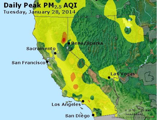Peak Particles PM<sub>2.5</sub> (24-hour) - http://files.airnowtech.org/airnow/2014/20140128/peak_pm25_ca_nv.jpg