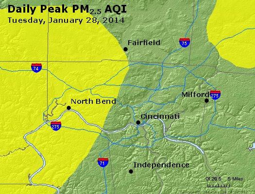 Peak Particles PM<sub>2.5</sub> (24-hour) - http://files.airnowtech.org/airnow/2014/20140128/peak_pm25_cincinnati_oh.jpg