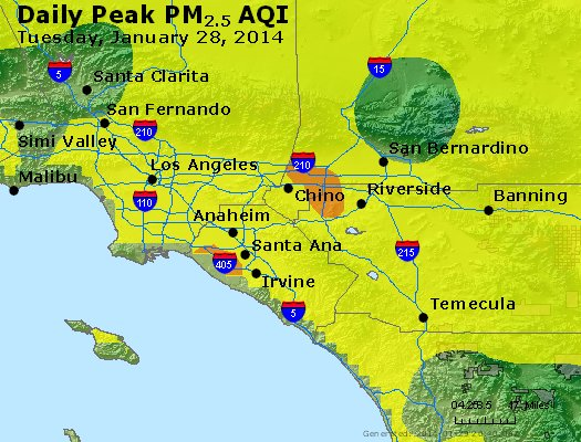 Peak Particles PM<sub>2.5</sub> (24-hour) - http://files.airnowtech.org/airnow/2014/20140128/peak_pm25_losangeles_ca.jpg