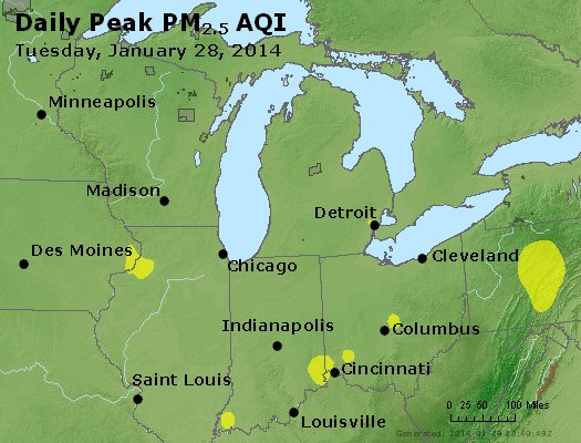Peak Particles PM<sub>2.5</sub> (24-hour) - http://files.airnowtech.org/airnow/2014/20140128/peak_pm25_mi_in_oh.jpg