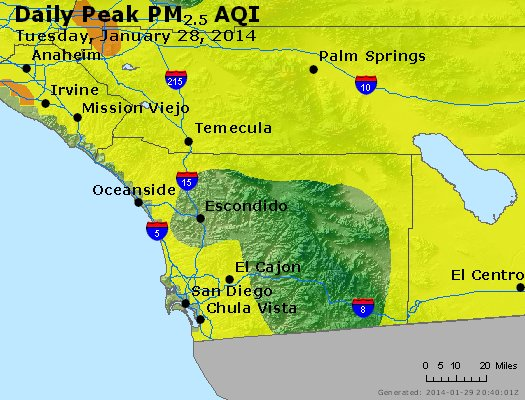 Peak Particles PM<sub>2.5</sub> (24-hour) - http://files.airnowtech.org/airnow/2014/20140128/peak_pm25_sandiego_ca.jpg