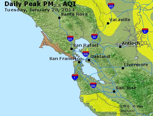 Peak Particles PM<sub>2.5</sub> (24-hour) - http://files.airnowtech.org/airnow/2014/20140128/peak_pm25_sanfrancisco_ca.jpg