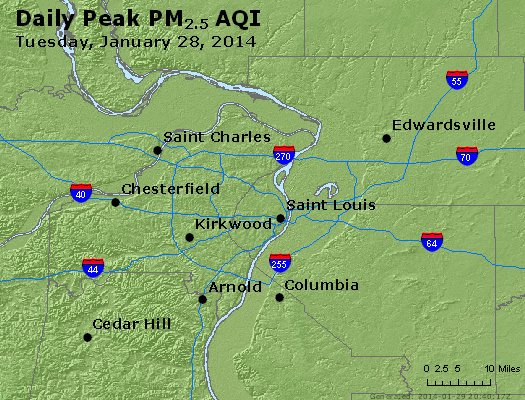 Peak Particles PM<sub>2.5</sub> (24-hour) - http://files.airnowtech.org/airnow/2014/20140128/peak_pm25_stlouis_mo.jpg