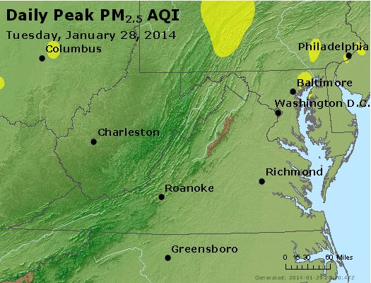 Peak Particles PM<sub>2.5</sub> (24-hour) - http://files.airnowtech.org/airnow/2014/20140128/peak_pm25_va_wv_md_de_dc.jpg